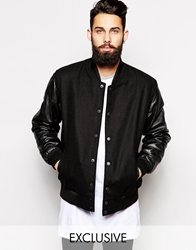 Reclaimed Vintage Baseball Jacket With Leather Sleeves Black