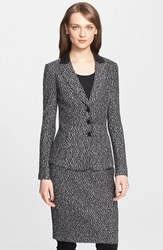 St. John Leather Trim Tweed Knit Jacket Caviar Multi