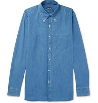 Tom Ford Button Down Collar Cotton Chambray Shirt Blue