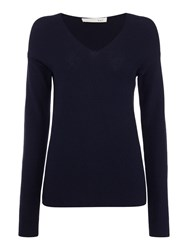 Oui V Neck Ribbed Sweater Navy