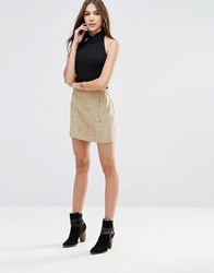Shades Of Grey Ultra Faux Suede Envelope Mini Skirt Camel Suede Tan