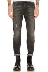 R 13 Drop Jean Washed Black Mended