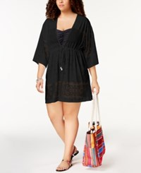 Dotti Plus Size Free Spirit Kimono Cover Up Women's Swimsuit Black