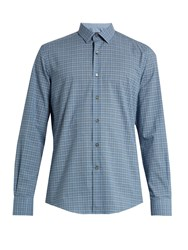 Lanvin Single Cuff Checked Cotton Shirt Blue Multi