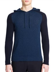 Emporio Armani Colorblock Hooded Cashmere Sweater Blue Melange