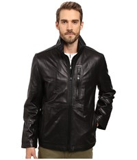 Marc New York Salem Smooth Lamb Leather Jacket With Stand Collar And Removable Quilted Bib Black Men's Coat