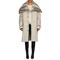 Y Project Wool Melton And Faux Fur Convertible Coat Light Gray