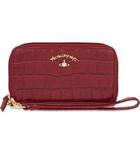 Vivienne Westwood Dorset Crocodile Embossed Leather Phone Purse Red