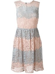Red Valentino Floral Macrame Dress Pink Purple