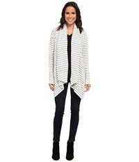 Culture Phit Rylee Striped Cardigan White Heather Grey Women's Sweater