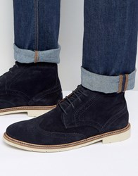 Tommy Hilfiger Metro Suede Lace Up Brogue Boots Navy