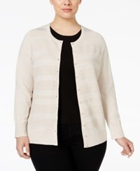 Charter Club Plus Size Striped Cardigan Only At Macy's Heather Brioche