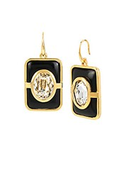 Diane Von Furstenberg Holiday Color Rectangular Drop Earrings Black Gold