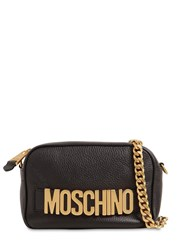 Moschino Logo Lettering Leather Camera Bag Black