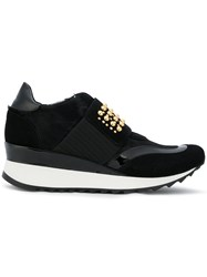 Loriblu Studded Platform Sneakers Leather Patent Leather Suede Rubber Black