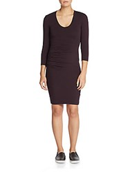James Perse Ruched Jersey Sheath Dress Black