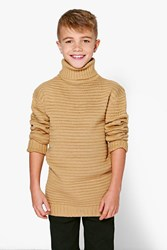 Boohoo Thick Knit Roll Neck Jumper Beige