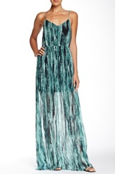Andrew Marc Painted Wave Maxi Dress Green