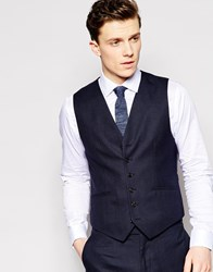 Reiss Micro Check Waistcoat In Tailored Fit Navy