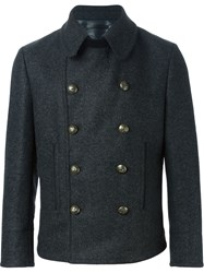 Dolce And Gabbana Short Double Breasted Coat Grey