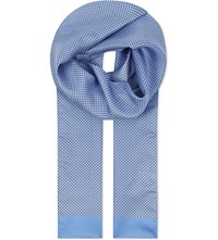 Eton Two Tone Diamond Silk Scarf Blue