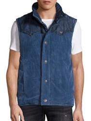 True Religion Reversible Western Puffer Vest Blue