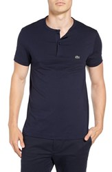Lacoste Men's Henley T Shirt Navy Blue