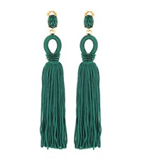 Oscar De La Renta Tassel Long Silk Clip On Earrings Green