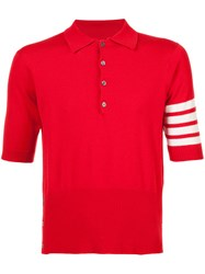 Thom Browne Cashmere Short Sleeve Polo Shirt Cashmere Red