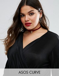 Asos Curve Christmas Velvet Choker With Bauble Burgundy Red