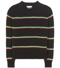 Etoile Isabel Marant Goya Striped Alpaca Wool And Linen Blend Sweater Black