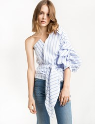 Pixie Market White One Shoulder Wrap Balloon Striped Shirt
