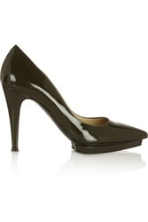 Moschino Patent Leather Platform Pumps Dark Green