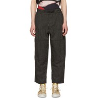 Enfants Riches Deprimes Black And White Striped Wool Japanese Railroad Trousers Blackwhite