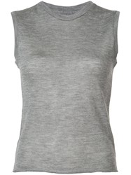 The Elder Statesman Royal Muscle Knitted Top Women Silk Cashmere L Grey