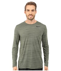 Nike Dri Fit Touch L S Medium Olive Sequoia Heather Black Men's T Shirt Green