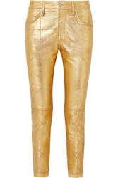 Golden Goose Jolly Embroidered Metallic Crinkled Leather Skinny Pants Large Gold
