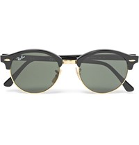 Ray Ban Clubmaster Round Frame Acetate And Gold Tone Polarised Sunglasses Black