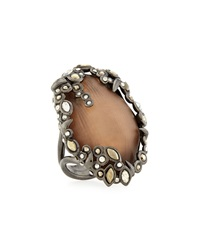 Alexis Bittar Lucite Rhinestone Edge Cocktail Ring Gunmetal