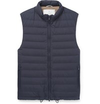 Brunello Cucinelli Quilted Shell Down Gilet Navy
