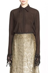 Isa Arfen 'That '90S Shirt' Sequin Fringe Check Wool Shirt Brown