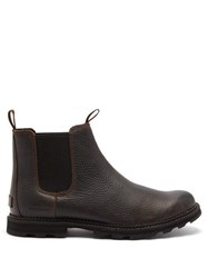 Sorel Madson Grained Leather Chelsea Boots Dark Brown
