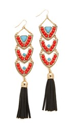 Adia Kibur Diana Earrings Gold Red Blue Black