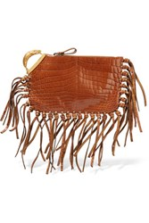 Valentino Fringed Textured Leather Clutch Brown
