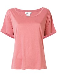 Hope Loose Fit Wide Neck T Shirt Pink And Purple