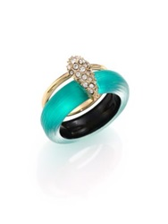 Alexis Bittar Lakana Lucite And Crystal Double Band Ring Gold Turquoise