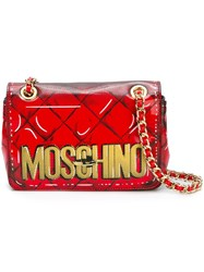 Moschino Trompe L'oeil Logo Shoulder Bag Red