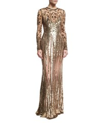 Elie Saab Illusion Star Beaded Tulle Gown Gold