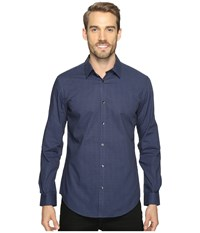 Calvin Klein Slim Fit Long Sleeve Infinite Cool Button Down Check Shirt Knight Blue Men's Clothing