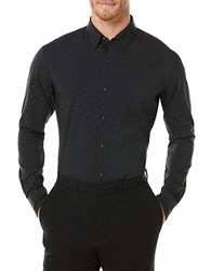 Perry Ellis Active Reflective Dotted Dress Shirt Black